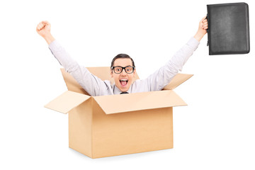 Businessman gesturing happiness inside a carton box