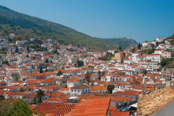 Red rooftops of houses on Hydra Island