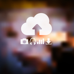 Defocused abstract texture background with web icons. Cloud