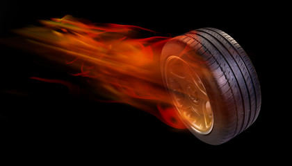 Tire on fire.