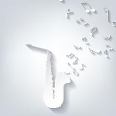 Music wind instruments icon. saxophone