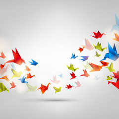 Origami paper bird on abstract background © 32 pixels