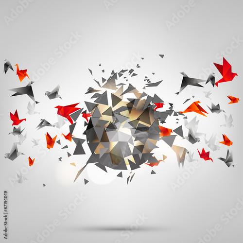 Deurstickers Geometrische dieren Origami paper bird on abstract background