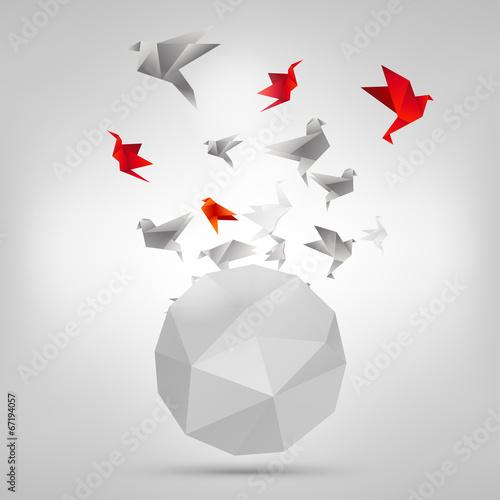 Poster Geometrische dieren Origami paper bird on abstract background