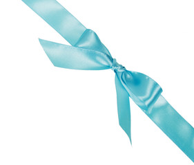 Blue Ribbon diagonal located  with a bow
