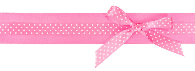 Pink polka dot ribbon with a bow
