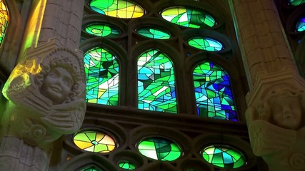 Inside of the Sagrada Familia church. Stained glass windows.