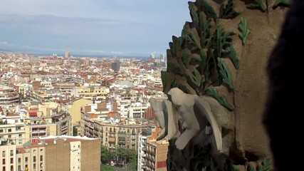 Barcelona aerial view from the tower of Sagrada Familia church