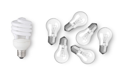 fluorescent light bulb and group of other light bulbs