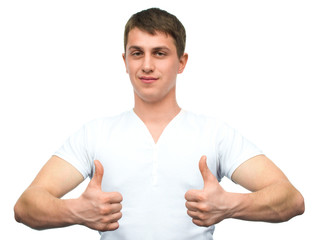Happy smiling guy showing thumb up hand sign