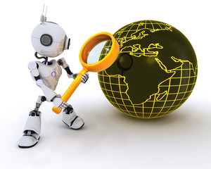 Robot searching with magnifying glass