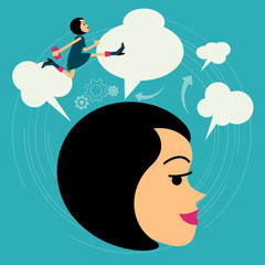 Flat style vector business woman growth concept