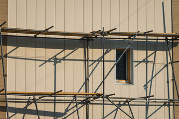 Scaffolding on a building facade.