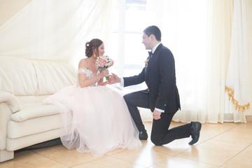 Happy pair of newlyweds