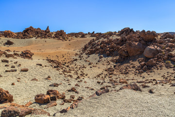 Desert of sand and rocks formed by the Teide volcano