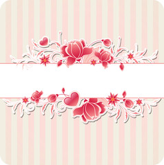 Background with red flowers and strips