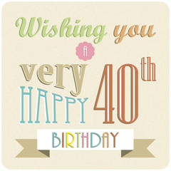 HAPPY 40th BIRTHDAY Card (retro invitation party celebration)