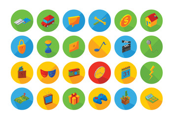 isometric flat icon set
