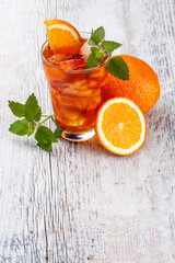 Glass of fruit iced tea