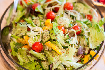 Greek salade in plate, close up view