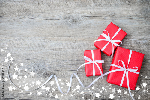 canvas print picture Gift boxes on wooden background