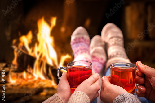 canvas print picture Mulled wine at romantic fireplace