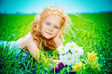 child on a meadow
