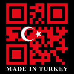Turkey QR code flag, vector
