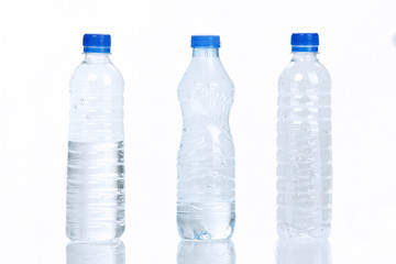 Three Water bottles isolated on white