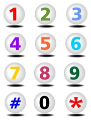 Phone buttons set with colored numbers