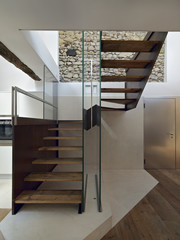 moden staircase in the modern entrance with wood floor