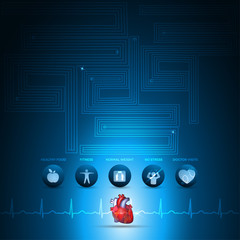 Heart health care info graphic, health care technology