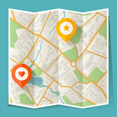 Abstract city folded map with location markers.