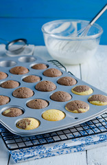 Fresh cupcakes in baking pan