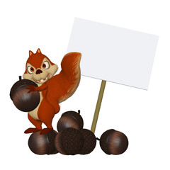cartoon squirrel with a blank frame