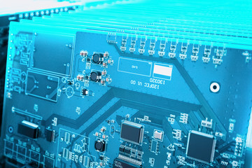 blue circuit board closeup