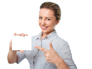 Woman showing empty blank paper card sign with copy space