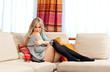 attractive blond woman relaxing
