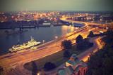Fototapety Szczecin (Stettin) City at night, Poland, vintage effect.