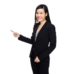 Asian business woman with finger up