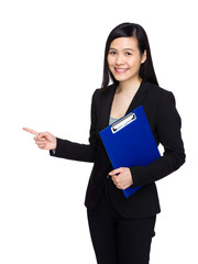 Asian business woman with clipboard and finger point out