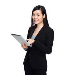 Asian business woman with digital tablet computer