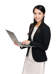Business woman use laptop computer
