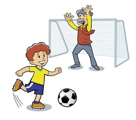 Father and son are playing football. Vector illustration