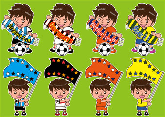 Vector cartoon soccer Sport Fan with scarf