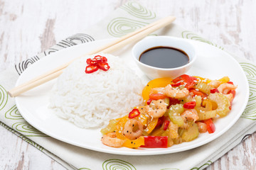 Chinese food, white rice and vegetables with shrimp