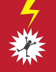 Figure electrocuted by lightning or shock