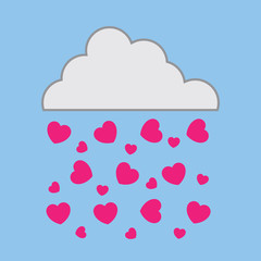Cloud in the sky raining pink hearts