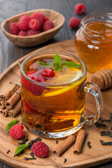 fragrant black tea with lemon, mint, raspberry and cinnamon