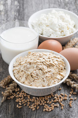 fresh dairy products - oatmeal, eggs, cottage cheese and milk